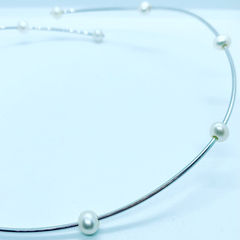 Freshwater Pearl sterling silver collar at twelve silver trees