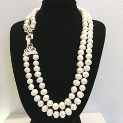Art Deco Style 2 Strand Pearl Necklace