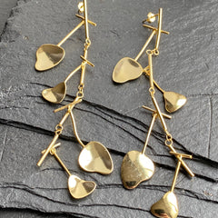Abstract leaves gold vermeil long length earrings at Twelve Silver Trees jewellery