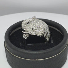 Load and play video in Gallery viewer, Micro Pave Elephant Sterling Silver Cocktail Ring.