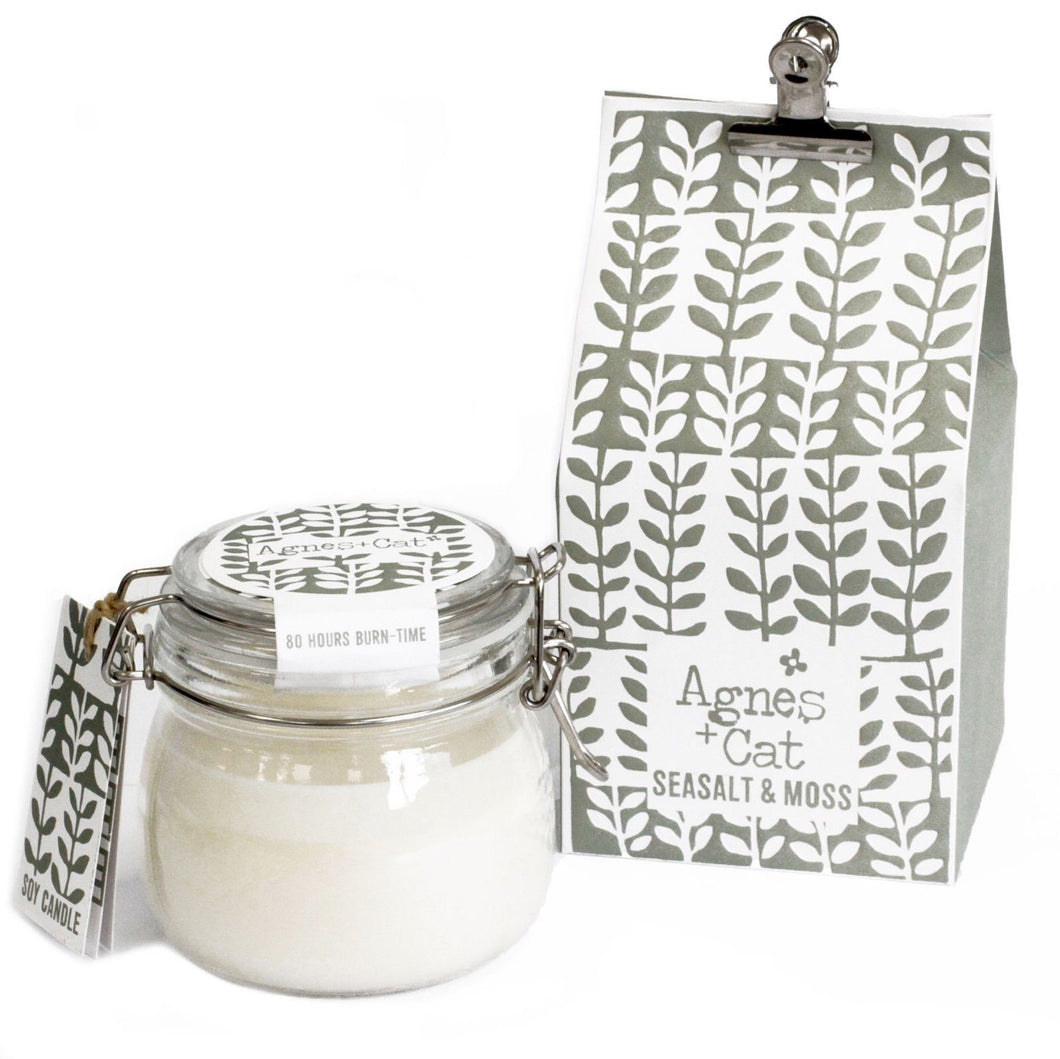 Agnes & Cat Soy Wax Kilner Jar Candle 80hrs Agnes & Cat Twelve Silver Trees Sea Salt & Moss