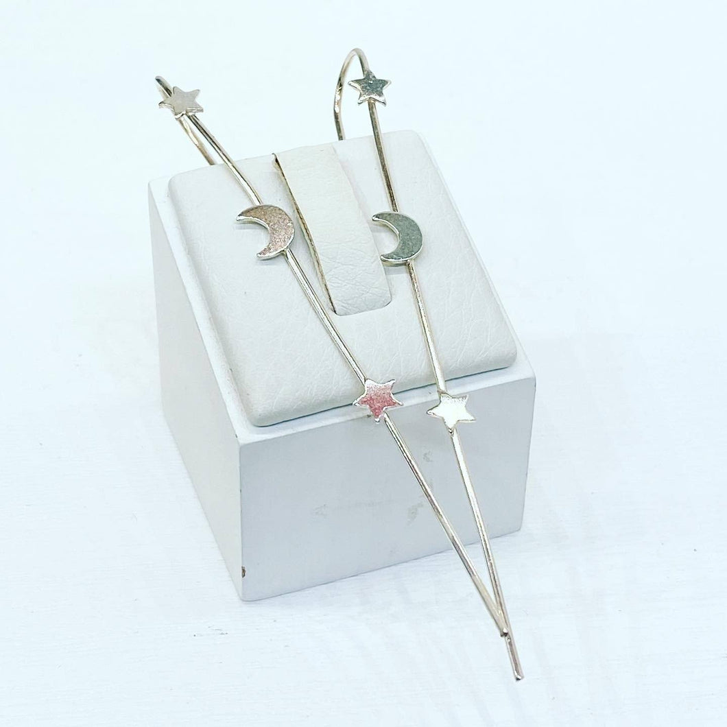 Alternative Sterling Silver Ear Spikes Earrings Twelve Silver Trees Jewellery Star & Moon