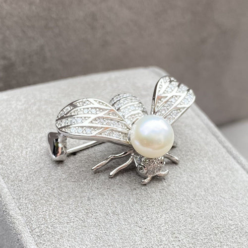 Art Deco Inspired Freshwater Pearl & Bee Brooch Brooches & Pins Twelve Silver Trees Jewellery