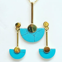 Load image into Gallery viewer, Art Deco Inspired Turquoise Disc Drop Earrings Earrings Twelve Silver Trees Jewellery
