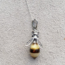 Load image into Gallery viewer, Baltic Amber Small Bee Pendant Necklace & Pendants Twelve Silver Trees Jewellery