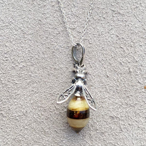 Baltic Amber Small Bee Pendant Necklace & Pendants Twelve Silver Trees Jewellery