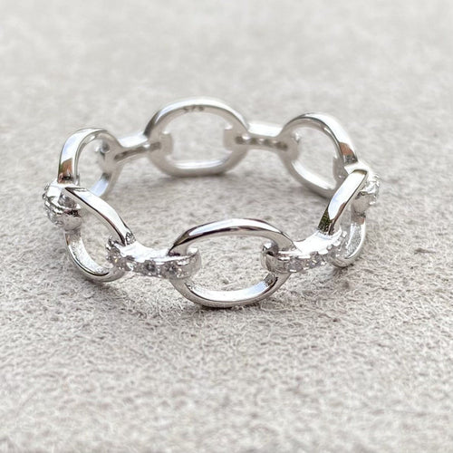 Chain link 6mm Silver Band Ring with Zirconia accents Rings Twelve Silver Trees Jewellery L