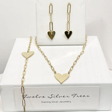 Load image into Gallery viewer, Chain Link Gold Heart Drop Earrings Bangles & Bracelets Twelve Silver Trees Jewellery