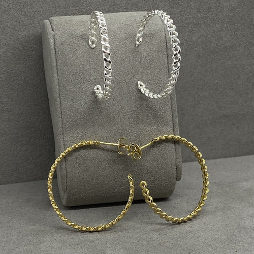 Curb Chain Link Hoop Earrings Earrings Twelve Silver Trees Jewellery