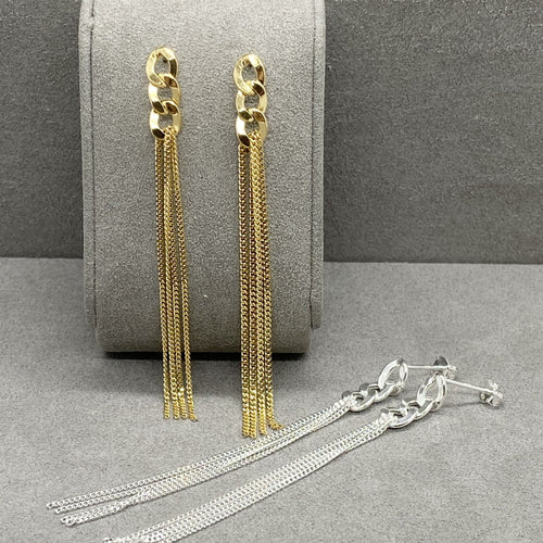 Long Mixed Curb Chain Gold Vermeil Earrings Earrings Twelve Silver Trees Jewellery