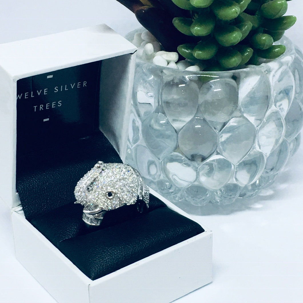 Micro Pave Elephant Sterling Silver Cocktail Ring. Rings Twelve Silver Trees Jewellery