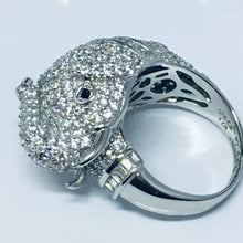 Load image into Gallery viewer, Micro Pave Elephant Sterling Silver Cocktail Ring. Rings Twelve Silver Trees Jewellery