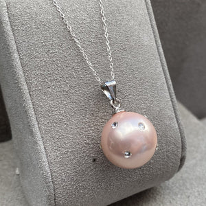 Pink Pearl Sterling Silver Pendant Necklace & Pendants Twelve Silver Trees Jewellery