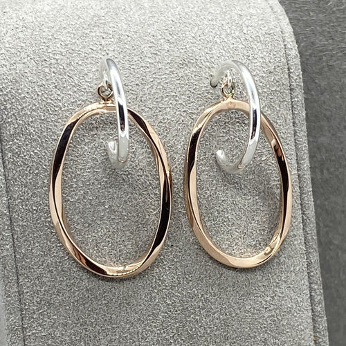Rose Gold & Silver Stud Hoop Earrings Earrings Twelve Silver Trees Jewellery
