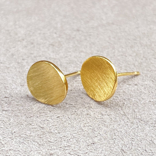 Simple Gold Vermeil Convex Button Stud Earrings Earrings Twelve Silver Trees Jewellery