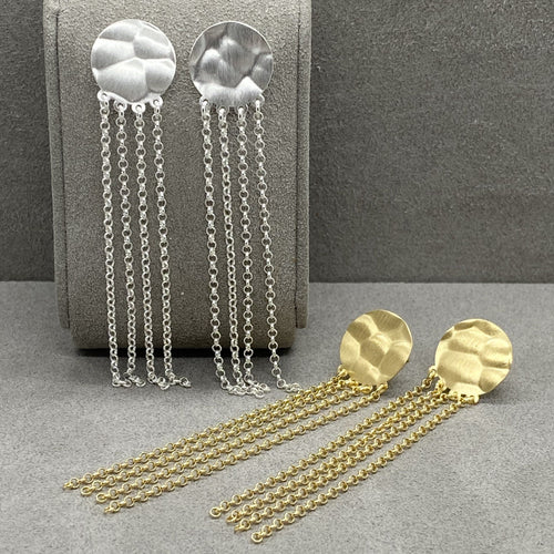 Textured Disc Chain Link Drop Earrings Earrings Twelve Silver Trees Jewellery