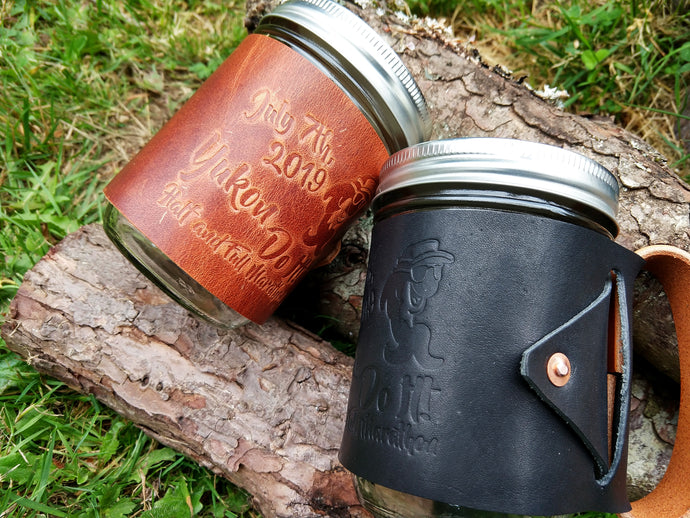 Yukon Do It! Half and Full Marathon Leather Mason Jar Mugs
