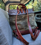 The Alinta - Waxed Canvas Bag - Converts from Tote Bag to Back Pack