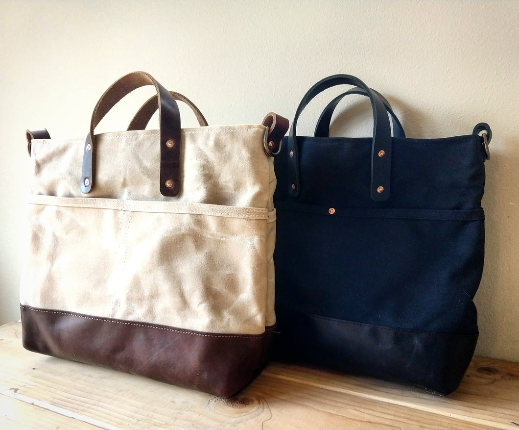 Mystery Bay at Day - Natural Waxed Canvas Zip Top Tote with Brown Leather Bottom, Grab Handles, and Adjustable Cross Body Strap