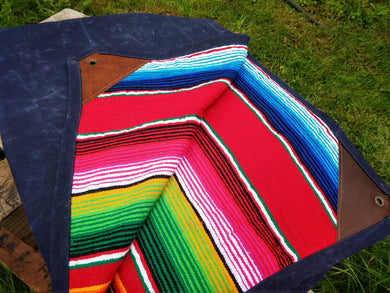 Waxed Canvas and Multi-Colored Mexican Serape Blanket Bed Roll