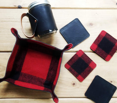 Buffalo Check Wool & Leather Drink Coasters