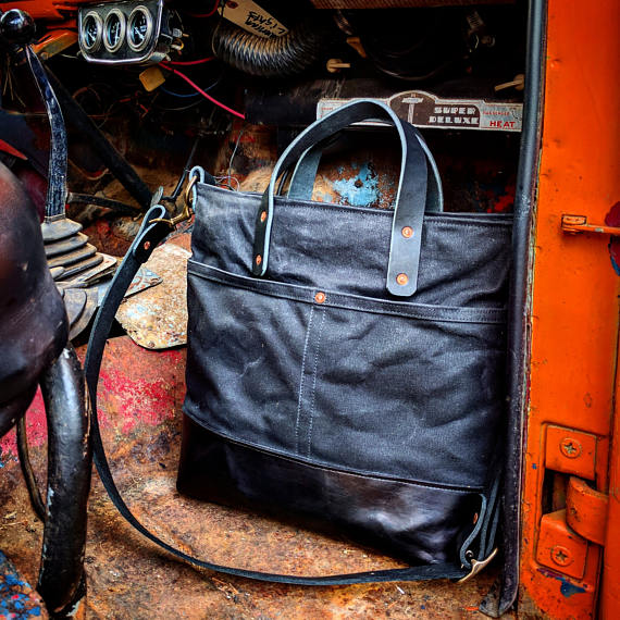 Mystery Bay at Night - Black Waxed Canvas Zip Top Tote with Black Leather Bottom, Grab Handles, and Adjustable Cross Body Strap