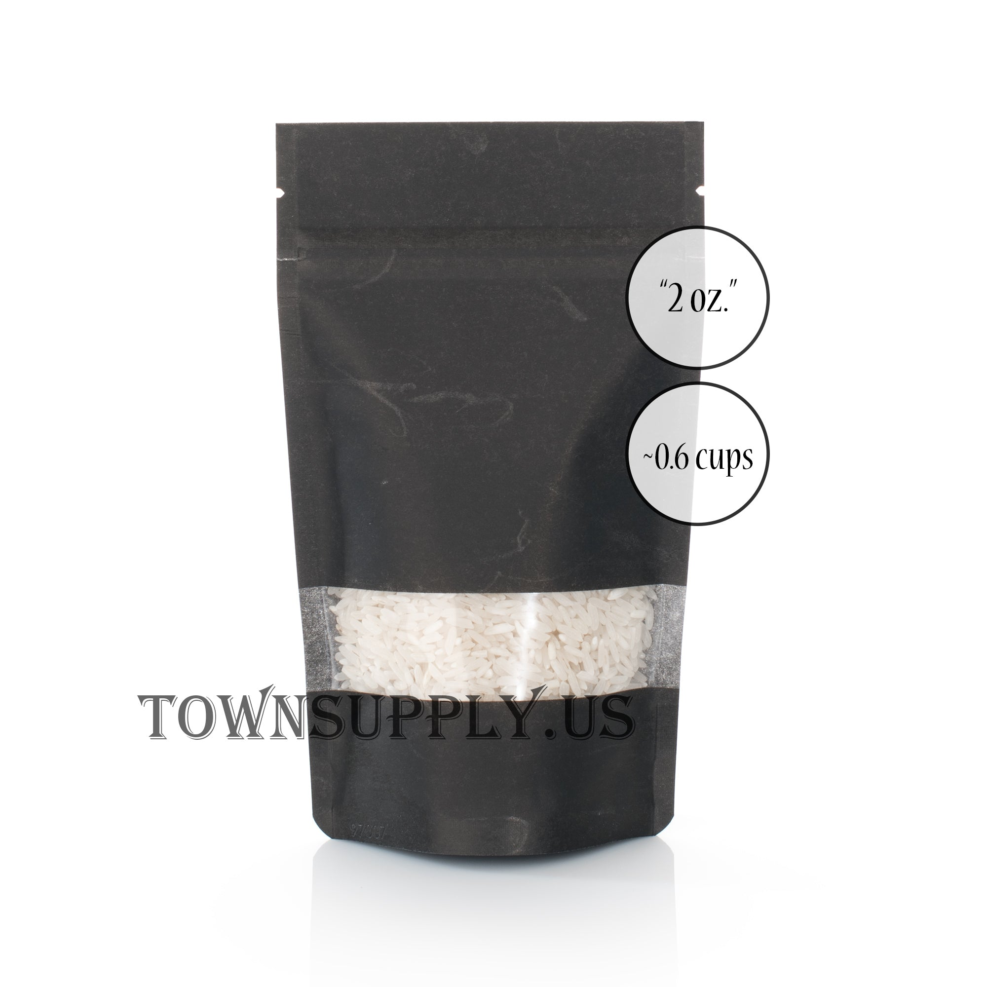 black rice paper resealable stand up pouch, 2 oz. bags - Town Supply