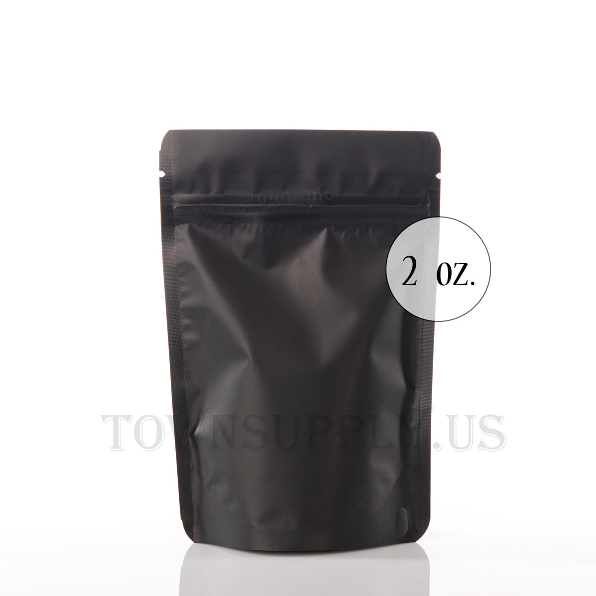 matte black resealable stand up pouch, 2 oz. bags - Town Supply