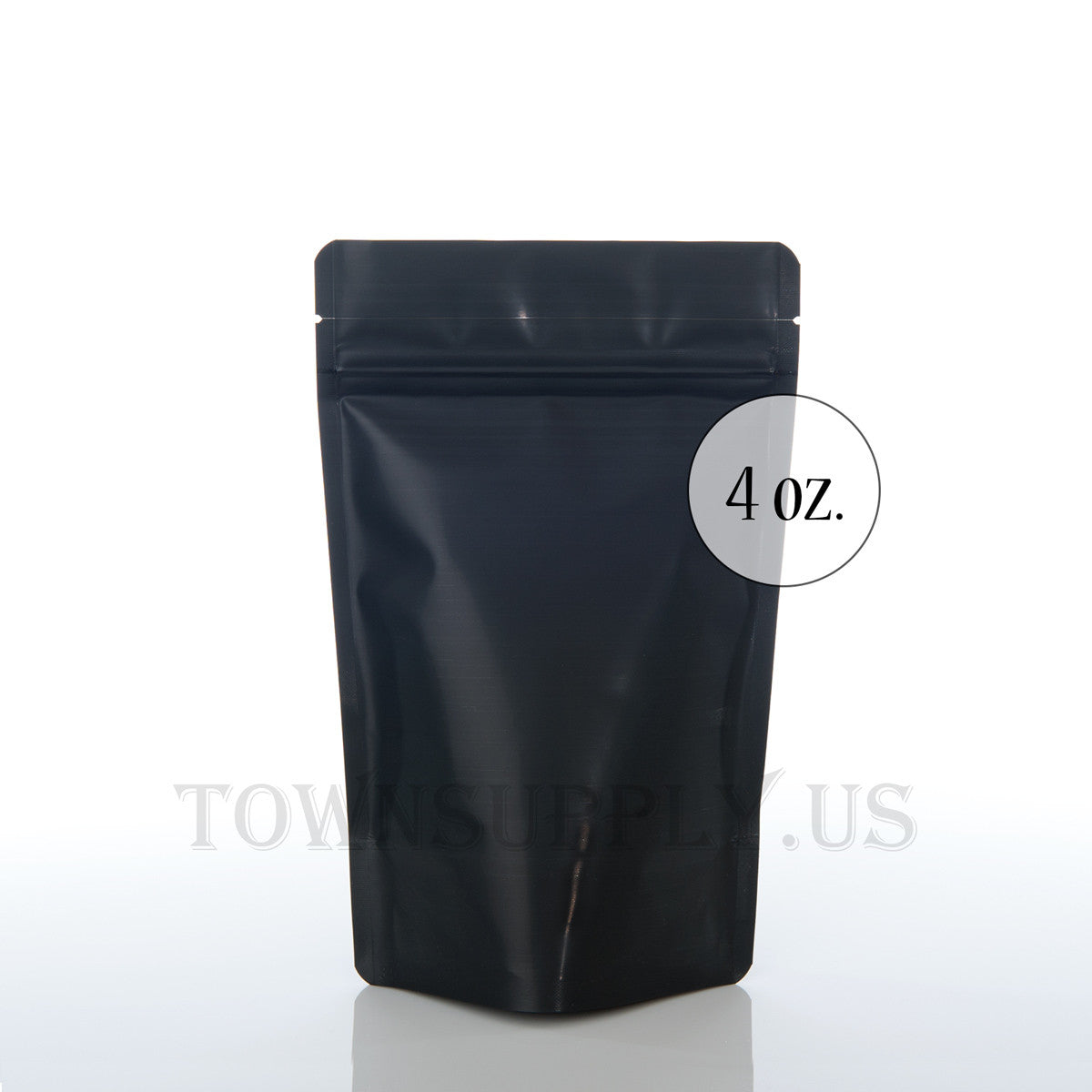 matte black resealable stand up pouch, 4 oz. bags - Town Supply