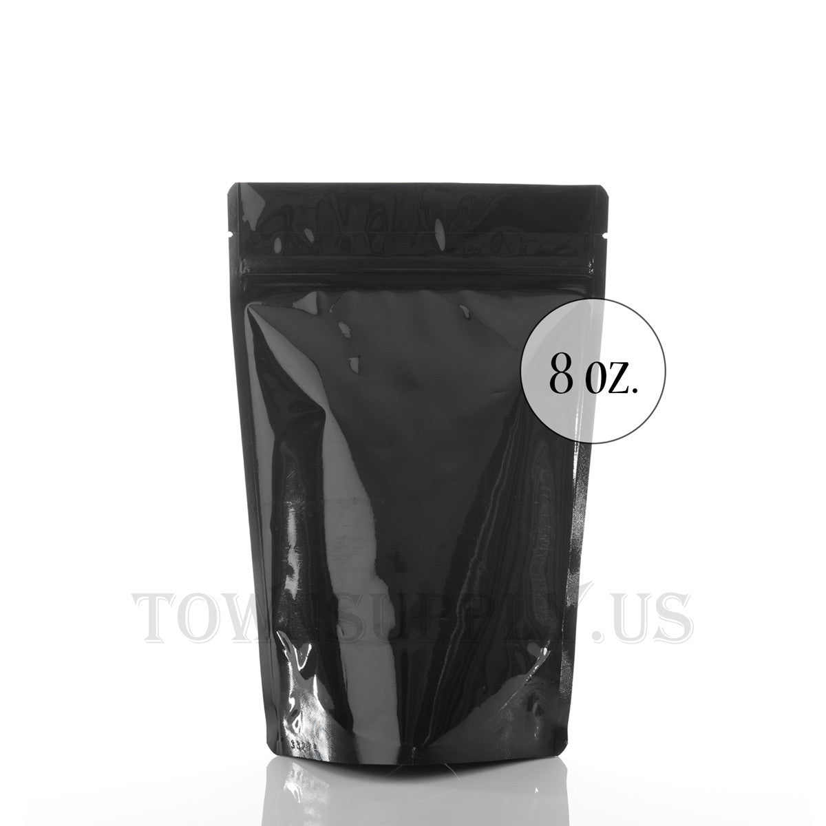 shiny black resealable stand up pouch, 8 oz. bags - Town Supply