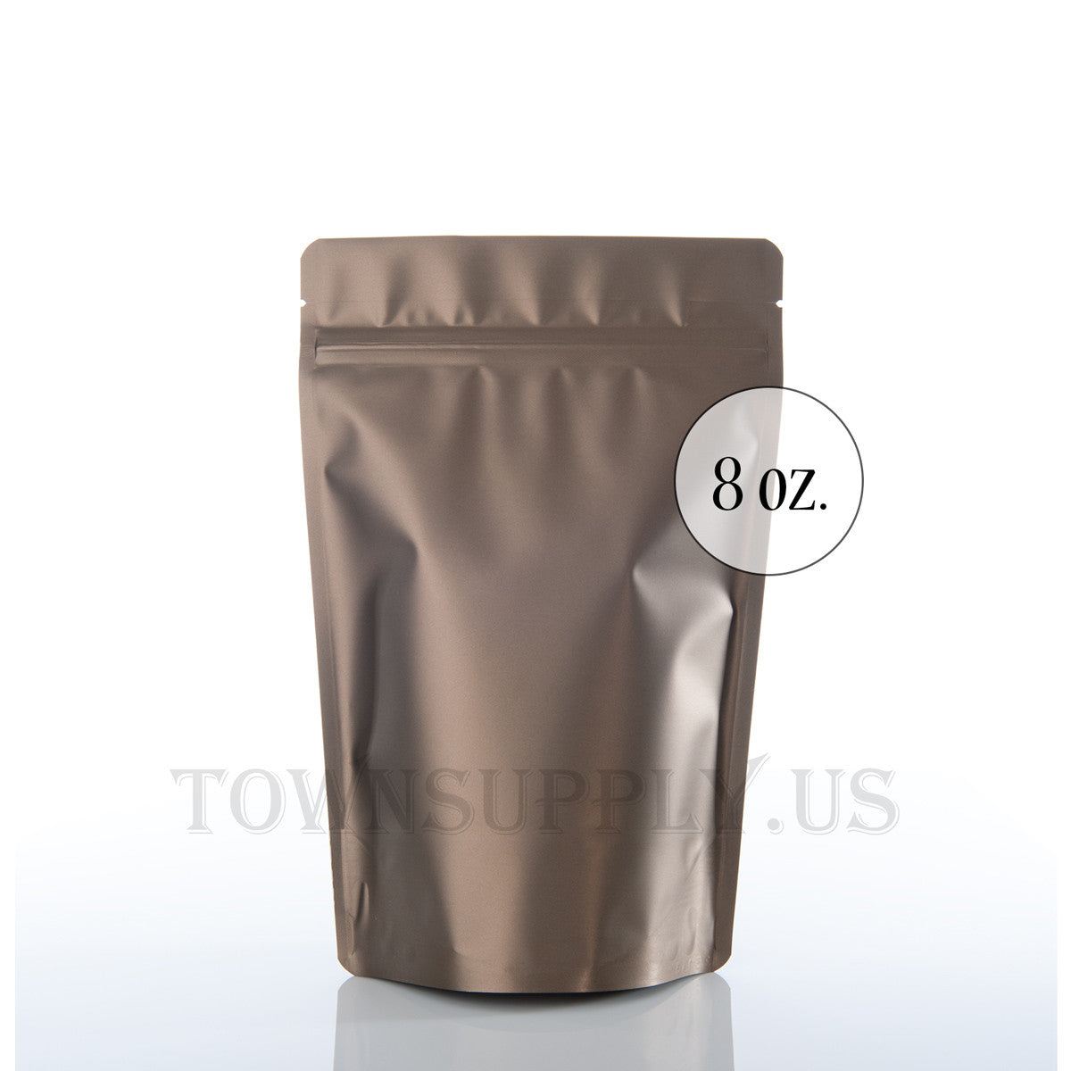 matte bronze resealable stand up pouch, 8 oz. bags - Town Supply