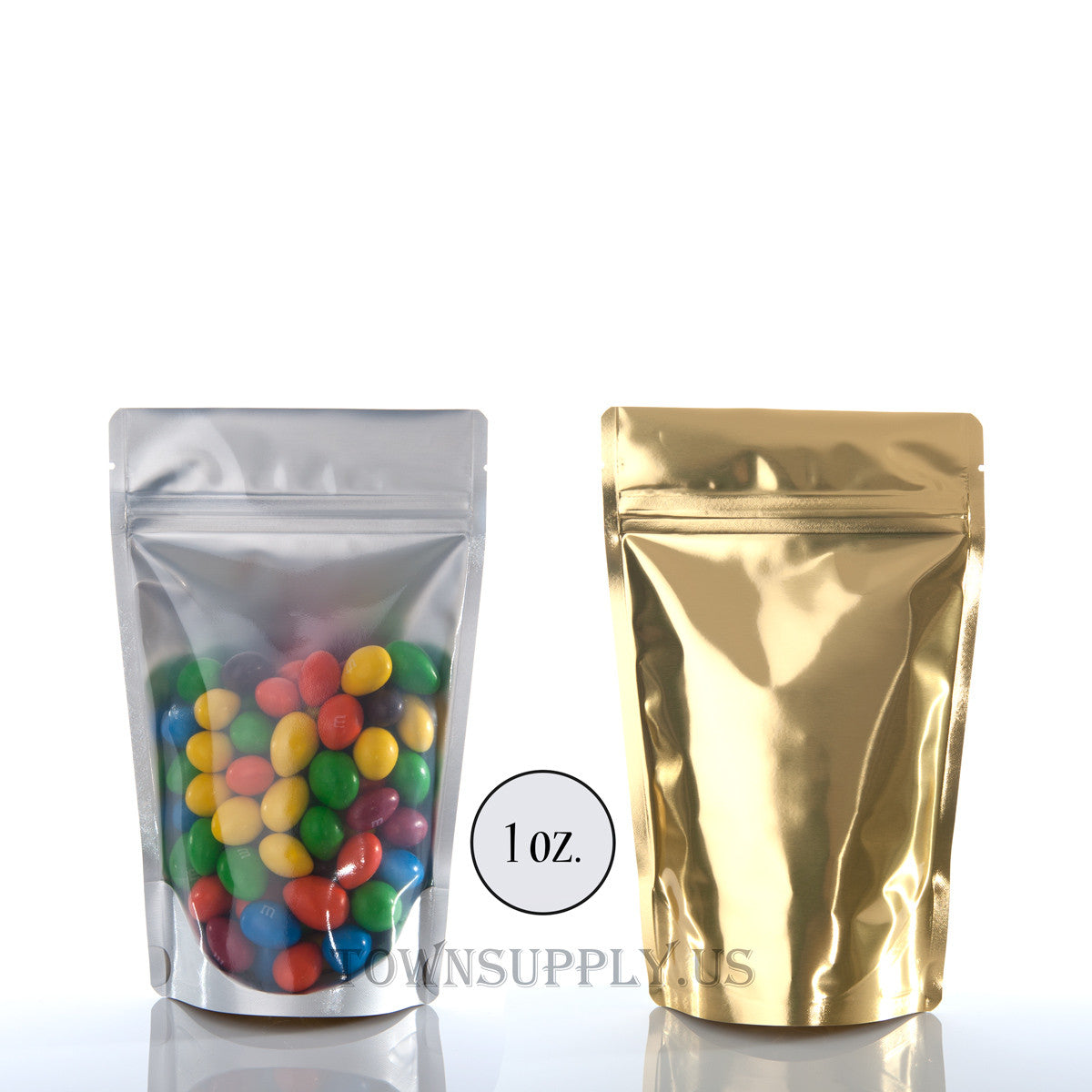 gold foil stand up pouch with clear poly front, 1 oz. bags - Town Supply