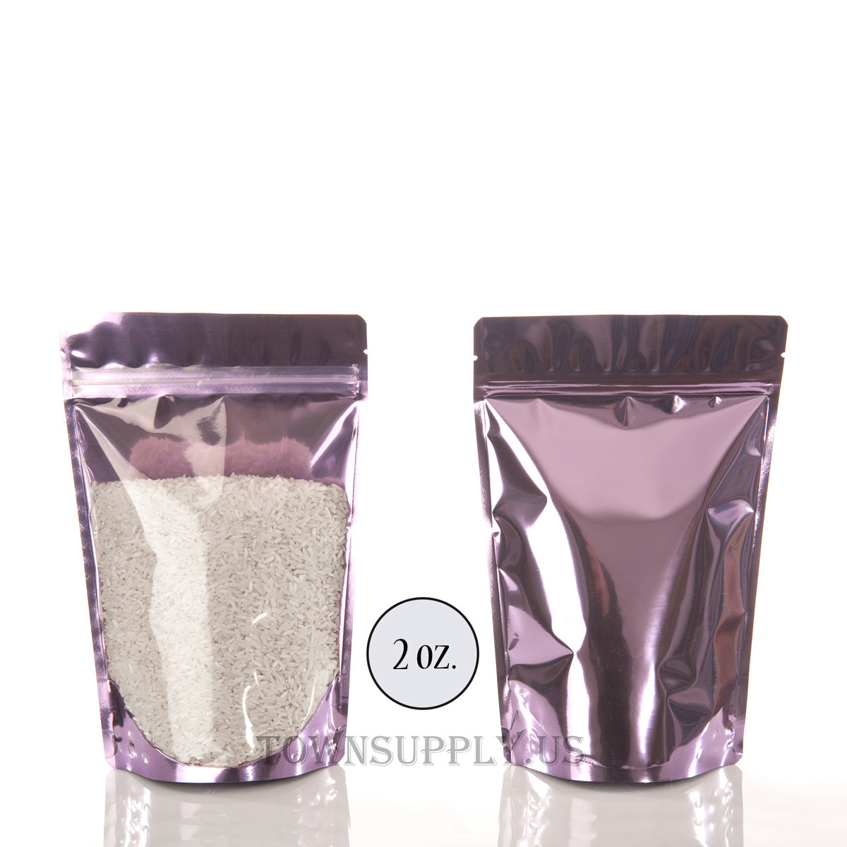 lavender foil stand up pouch with clear poly front, 2 oz. bags - Town Supply