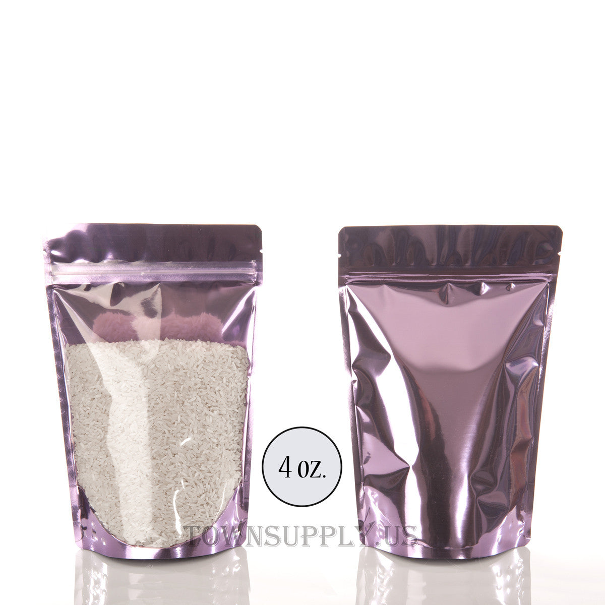 lavender foil stand up pouch with clear poly front, 4 oz. bags - Town Supply