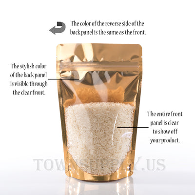 maple foil stand up pouch with clear poly front, 4 oz. bags - Town Supply