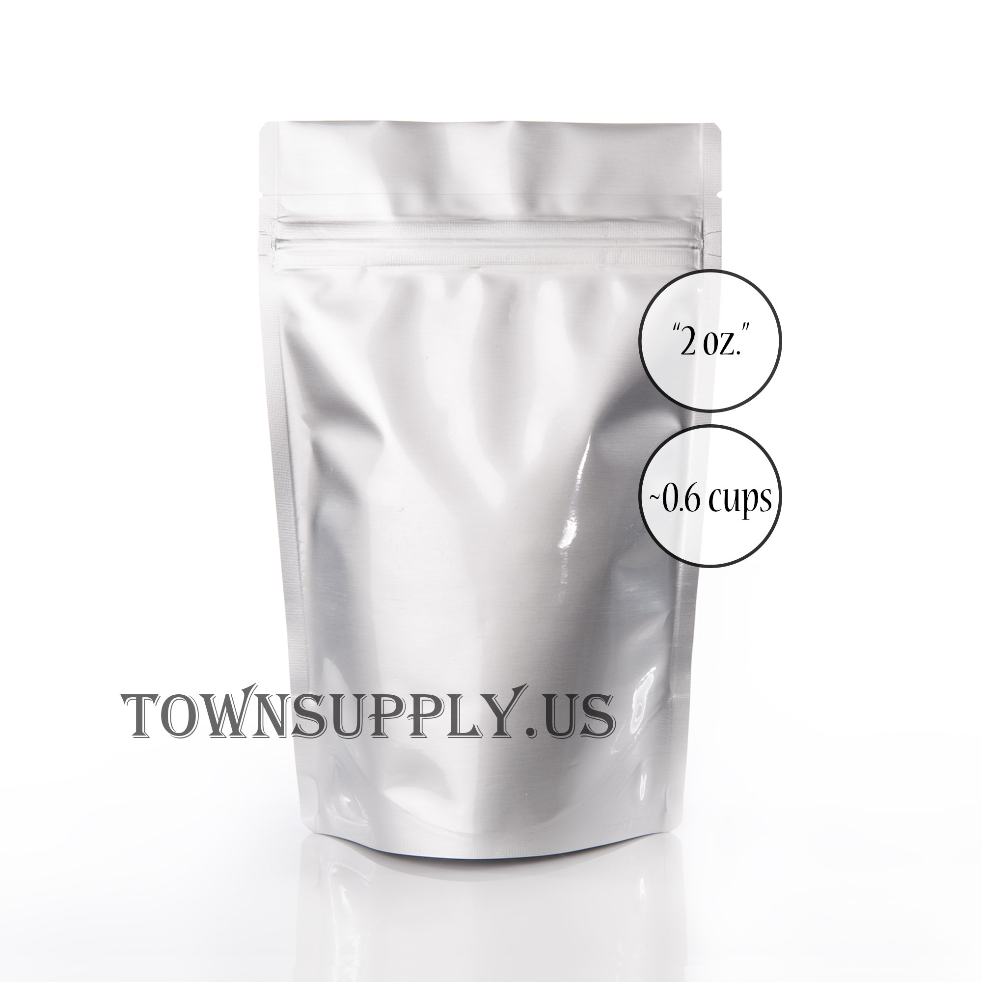 shiny silver resealable stand up pouch, 2 oz. bags - Town Supply