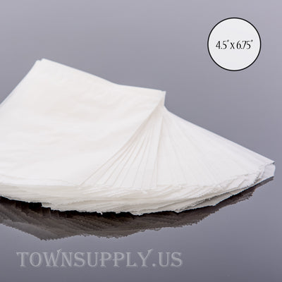 "50 pack - flat glassine bags, 4.5"" x 6.75"" translucent waxed paper envelopes - Town Supply"
