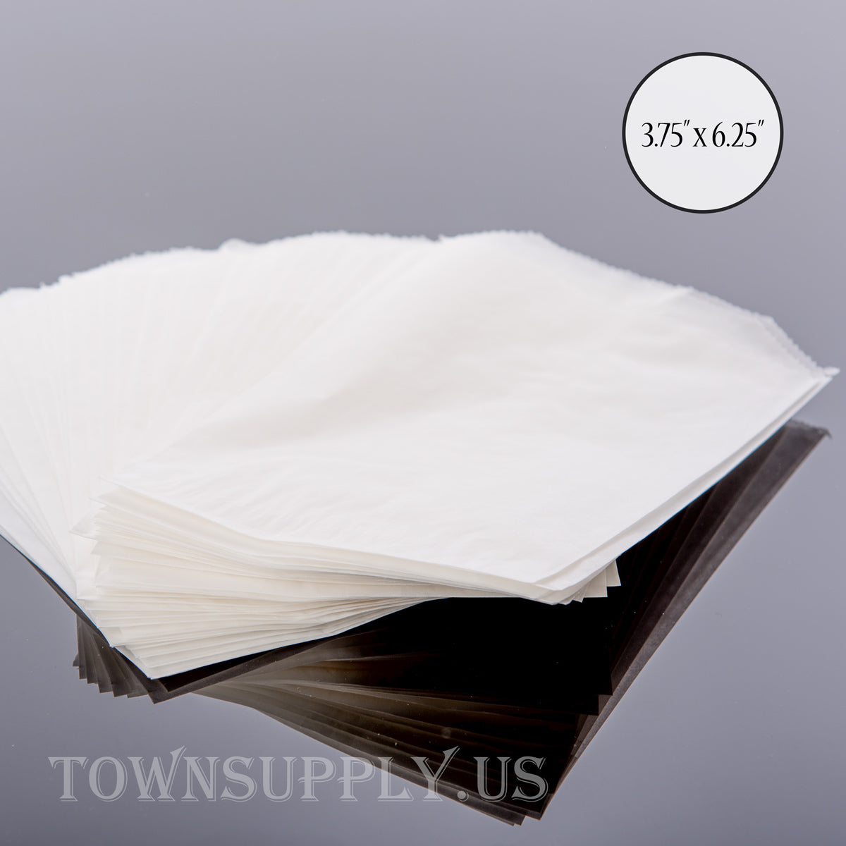 "50 pack - flat glassine bags, 3.75"" x 6.25"" translucent waxed paper envelopes - Town Supply"