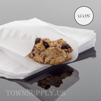"50 pack - flat glassine bags, 5.5"" x 7.75"" translucent waxed paper envelopes - Town Supply"