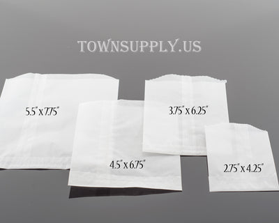 "50 pack - flat glassine bags, 2.75"" x 4.25"" translucent waxed paper envelopes- Town Supply"