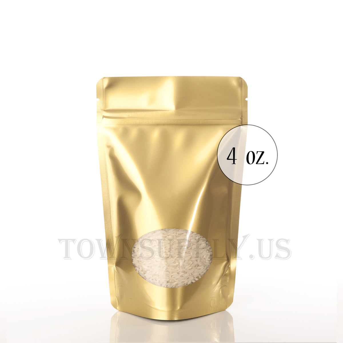 gold stand up pouch with oval window, 4 oz. bags - Town Supply