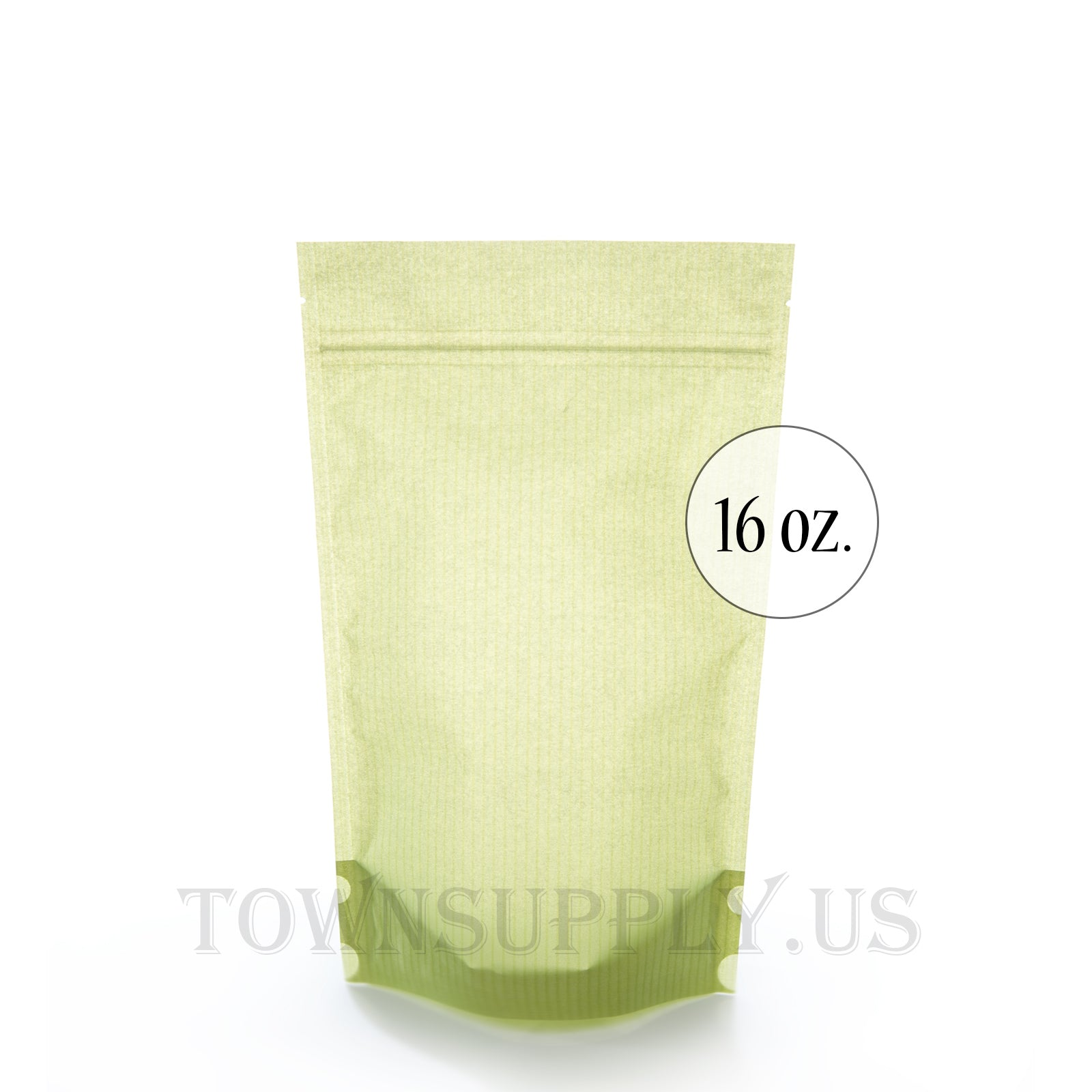 patterned green poly lined stand up pouch, 16 oz. bags - Town Supply