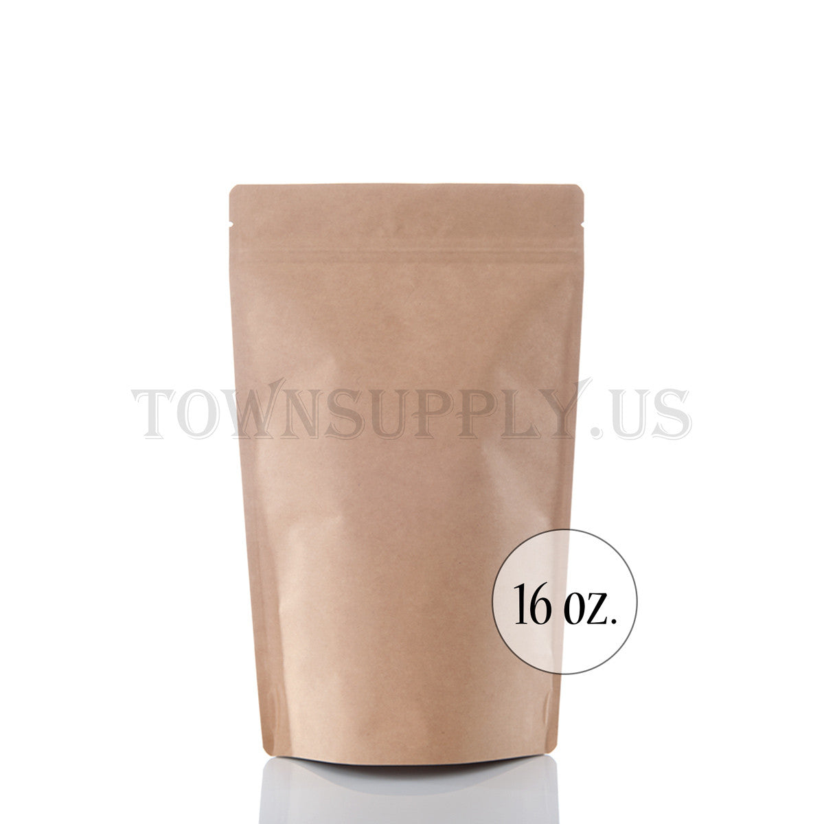 Kraft foil lined stand up pouch, 16 oz. bags - Town Supply