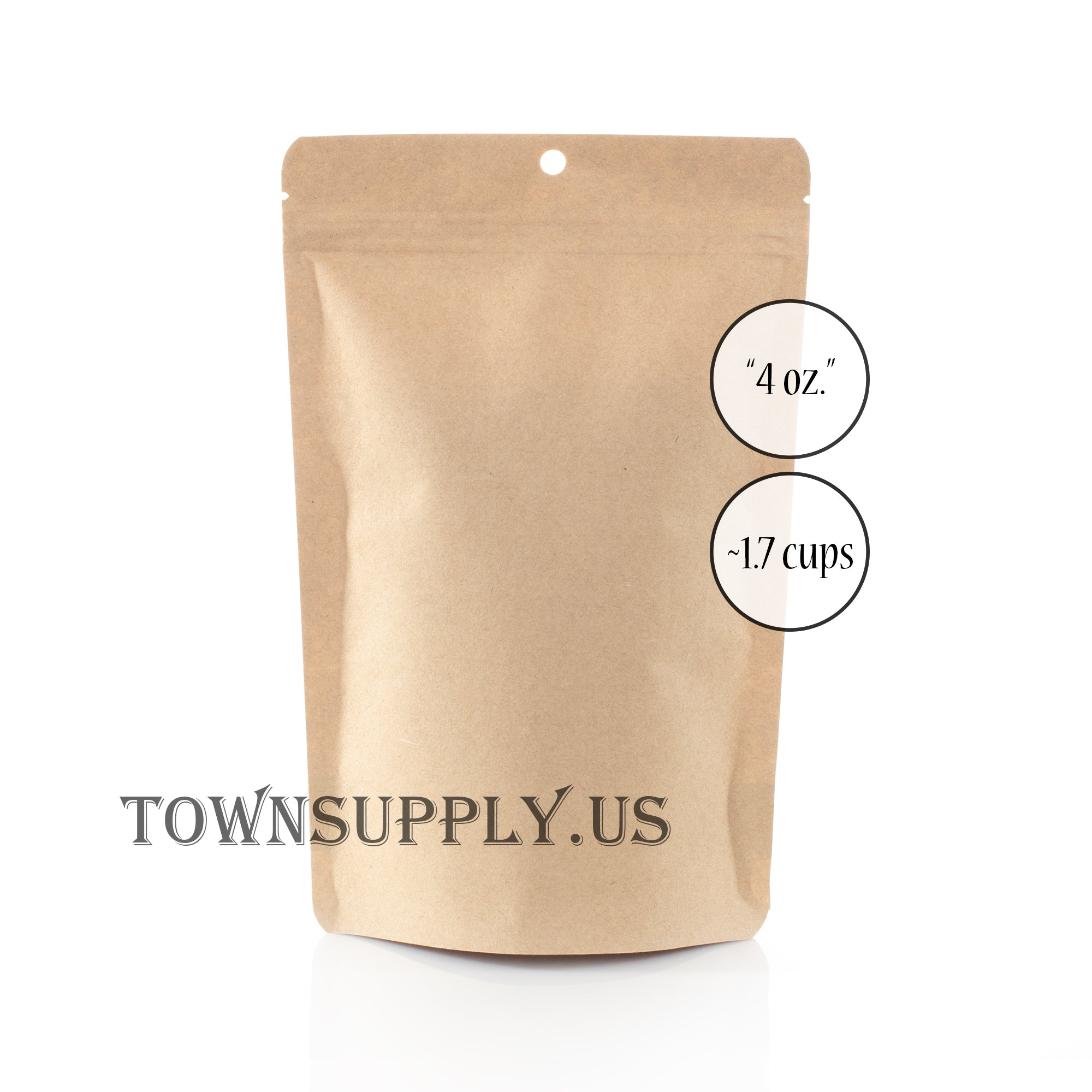 earth friendly compostable Kraft paper stand up pouch, 4 oz. bags - Town Supply