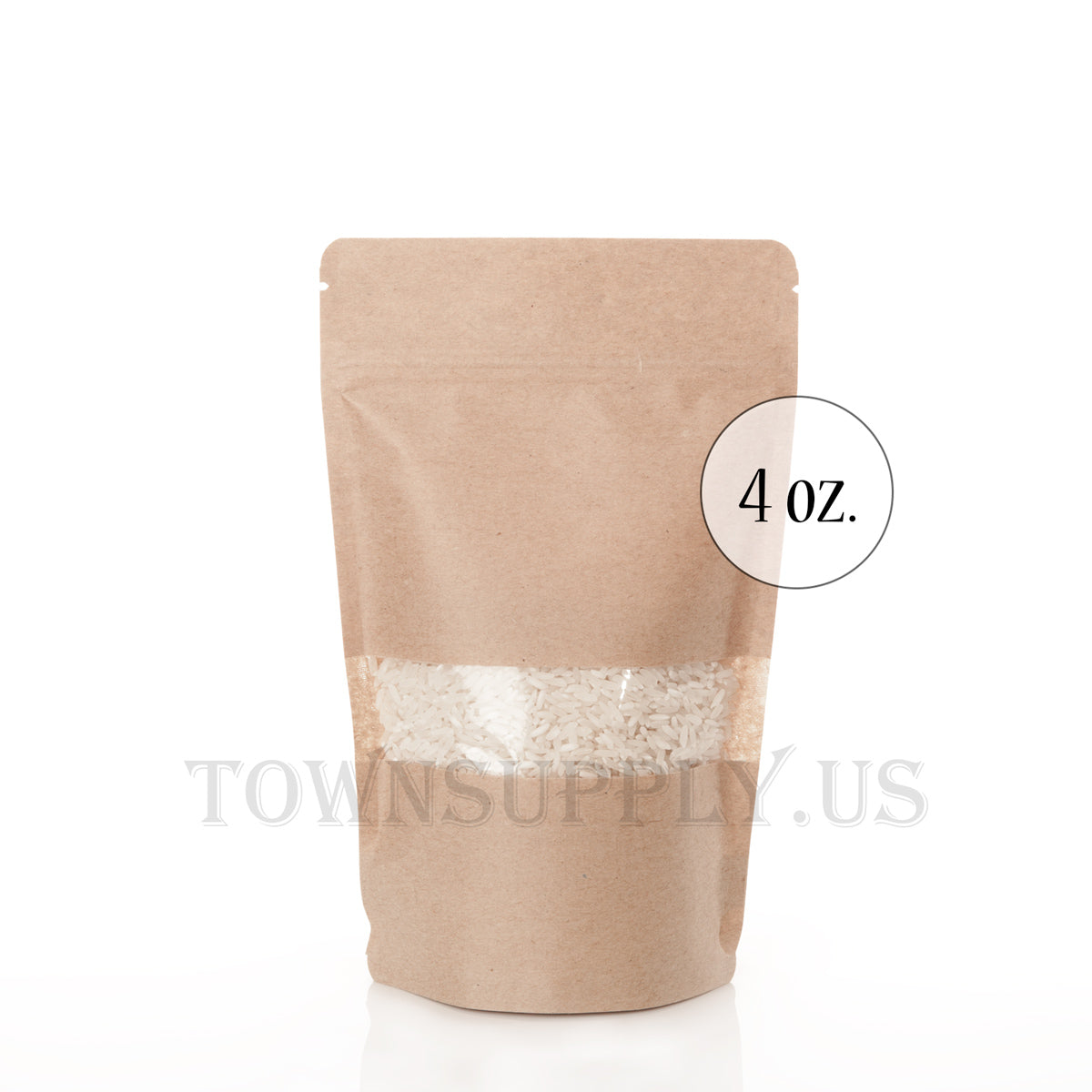 Kraft paper stand up pouches with rectangle window, 4 oz. bags - Town Supply