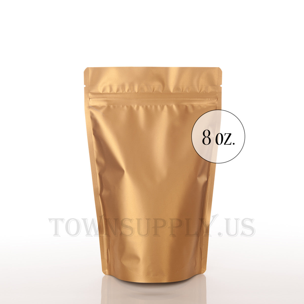 matte gold resealable stand up pouch, 8 oz. bags - Town Supply