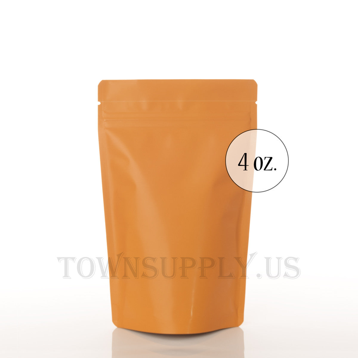 matte orange resealable stand up pouch, 4 oz. bags - Town Supply