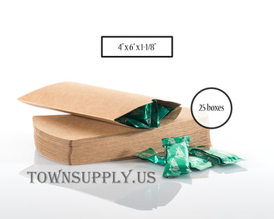 pillow boxes, natural Kraft, eco-friendly packaging, pack of 25 - Town Supply