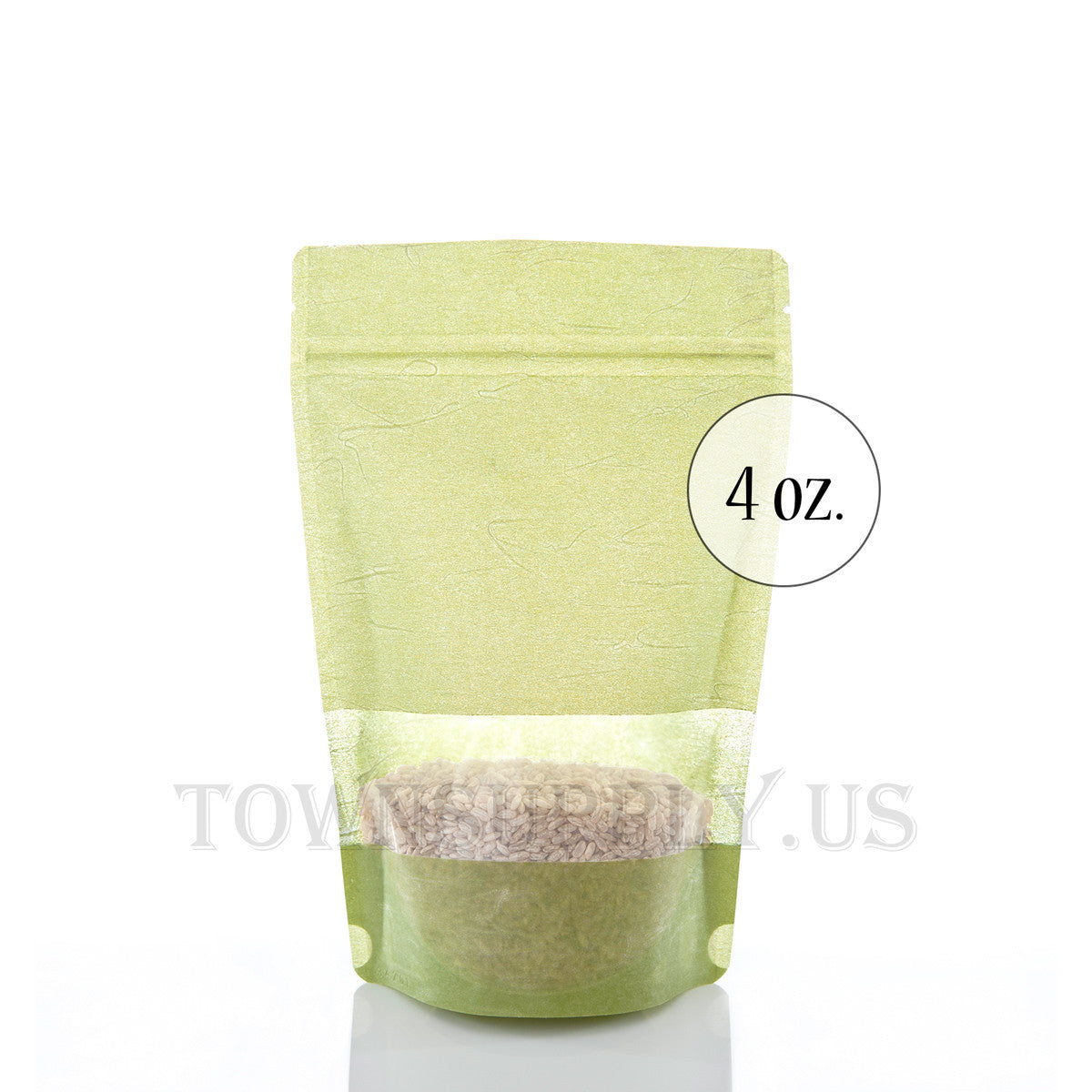 green rice paper stand up pouch with window, 4 oz. bags - Town Supply