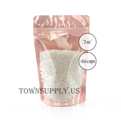 rose gold colored foil stand up pouch with clear poly front, 2 oz. high visibility bags - Town Supply